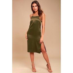 Lulus Keeps Gettin Better Olive Green Midi Dress